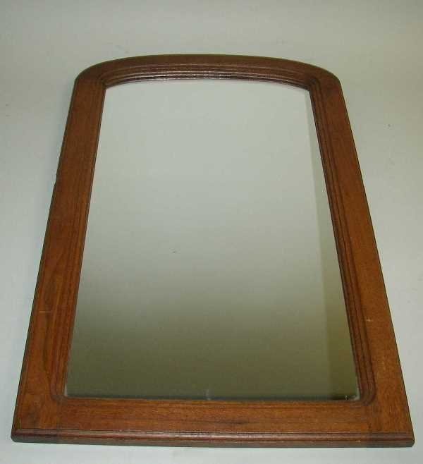 1: ANTIQUE DOMED TOP WALL MIRROR:  C.1890, Walnut, 25 1