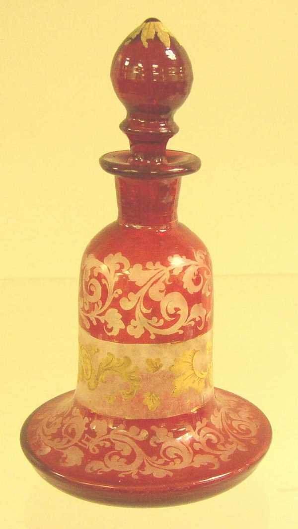 2: BOHEMIAN ETCHED GLASS PERFUME BOTTLE:  C.1850, Gilde