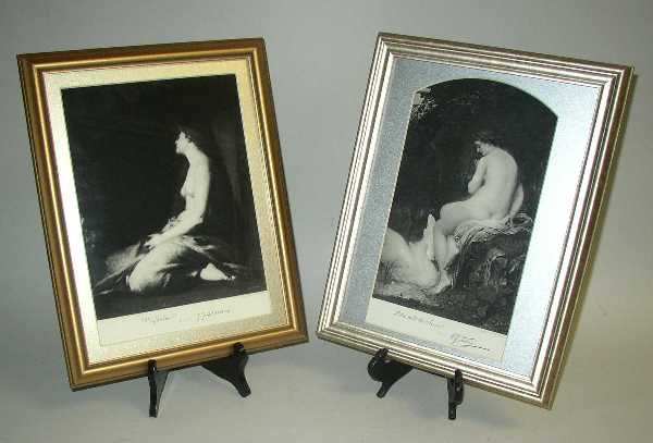 "9: PAIR OF FRAMED NUDES:  ""Leda And The Swan"" Artist A."