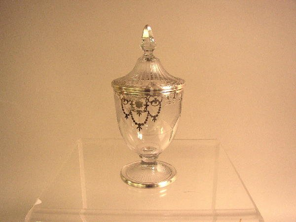 20: VICTORIAN SILVER OVERLAY COVERED DECANTER:  C.1910,