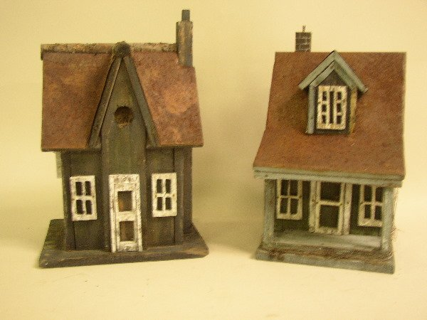 "22: TWO VIRGINIA PRIMITIVE ""TIN ROOF"" BIRDHOUSES:  C.19"