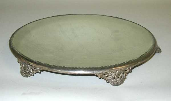 26: VINTAGE SILVERPLATED PLATEAU WITH FILIGREE TRIM: