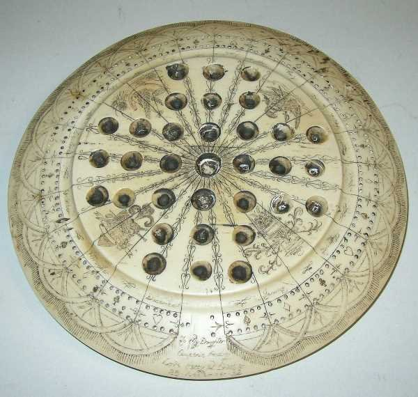 35: ANTIQUE CARVED SCRIMSHAW GAME BOARD:  C.1832 Inscri