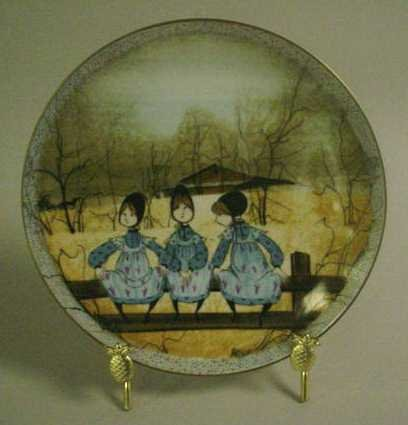 6: HAND-PAINTED PLATE BY P. BUCKLEY MOSS