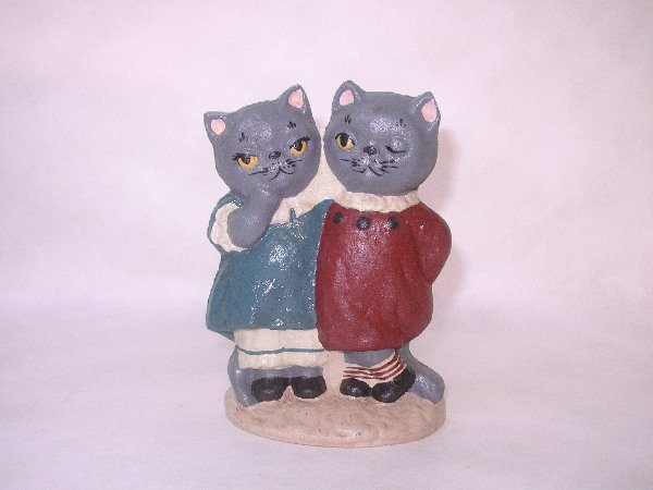 "2: CAST IRON DECORATIVE CATS DOOR STOP:  7""H. 5""W. 3 LB"