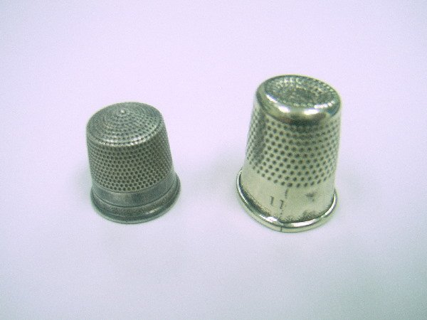 3: PAIR OF SILVER THIMBLES:  The Smaller Of The Two Is