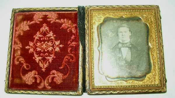 9: LEATHER BOUND FRAMED DAGUERROETYPE: C1890, Of A Youn