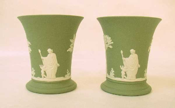 12: PAIR OF GREEN JASPERWARE VASES: White Jasper Relief