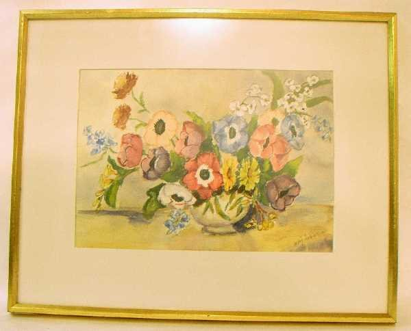 22: FRAMED FLORAL WATERCOLOR: Signed Mary Johnson, Pete