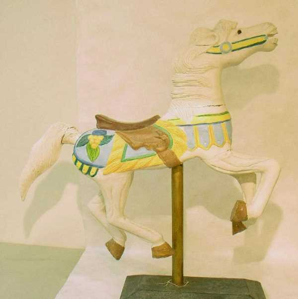 25: CAROUSEL HORSE ON BASE: White With Painted Saddle,