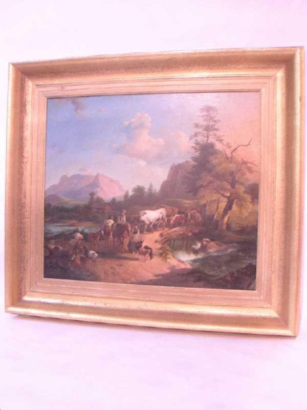 """95: FRAMED LANDSCAPE""""OIL ON TOLE: C.1890, Unsigned, Dut"""