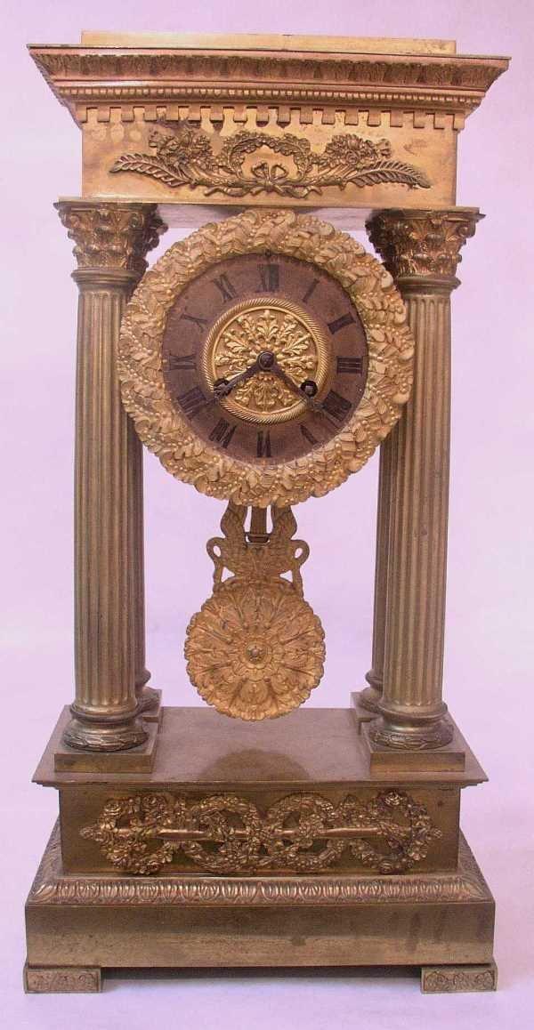 130: GILDED FRENCH PORTICO CLOCK: C.1820, Movement Stam
