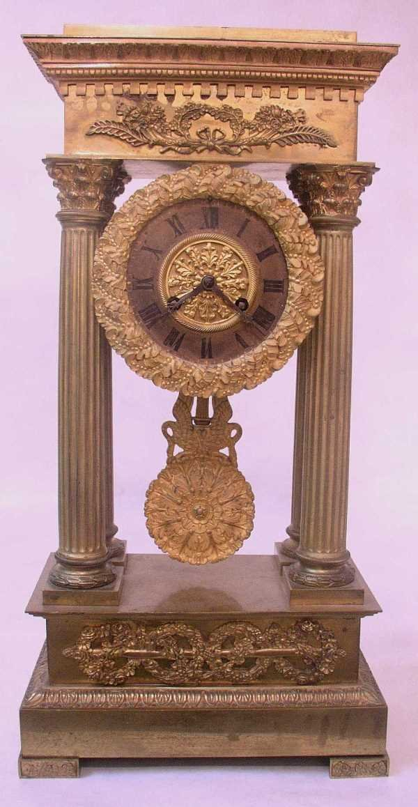 130: GILDED FRENCH PORTICO CLOCK: C.1820, Movement Stam