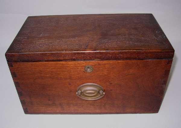 407: ANTIQUE LETTER BOX: C.1890, Walnut, Dovetailed,Sli