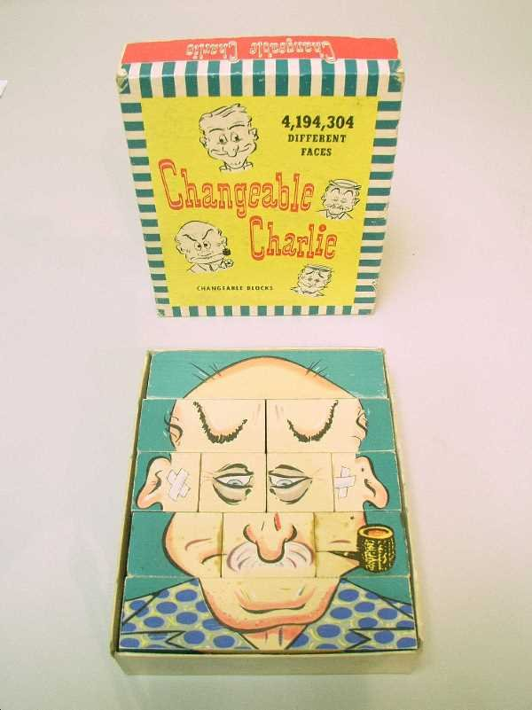 408: VINTAGE CHANGEABLE CHARLIE TOY BLOCKS: C.1948,In O