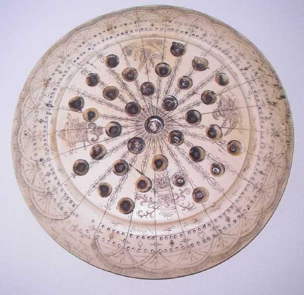 412: COMPOSITION SCRIMSHAW STYLE GAME BOARD:Inscribed