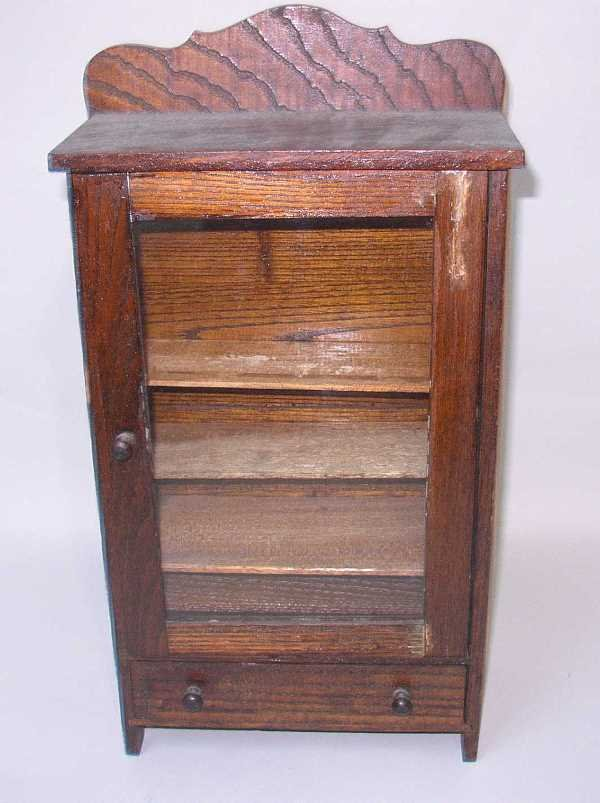 417: UNIQUE MINIATURE CHINA CABINET: C.1950, Stained Oa