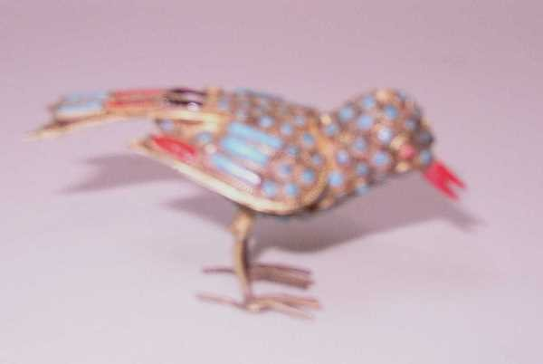 422: VINTAGE TURQUOISE & BRASS BIRD: C.1950, Incrusted