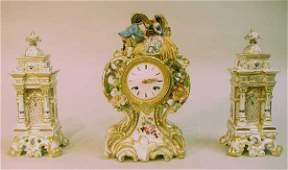 455 THREE PIECE PORCELAIN FRENCH CLOCK SET C1850Sil