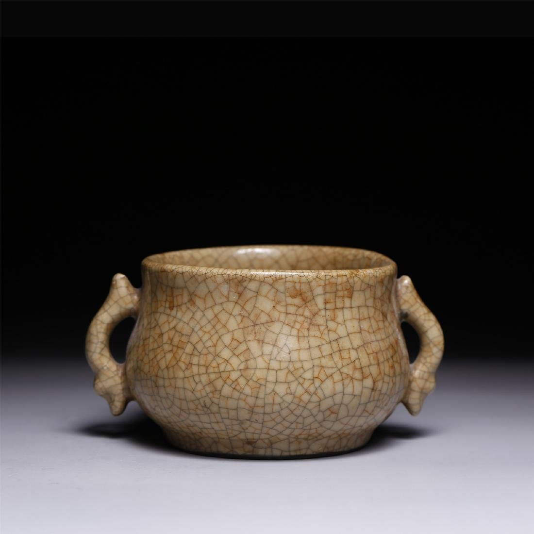 A CHINESE CRACKLE GLAZED TWIN-HANDLE CENSER - 2