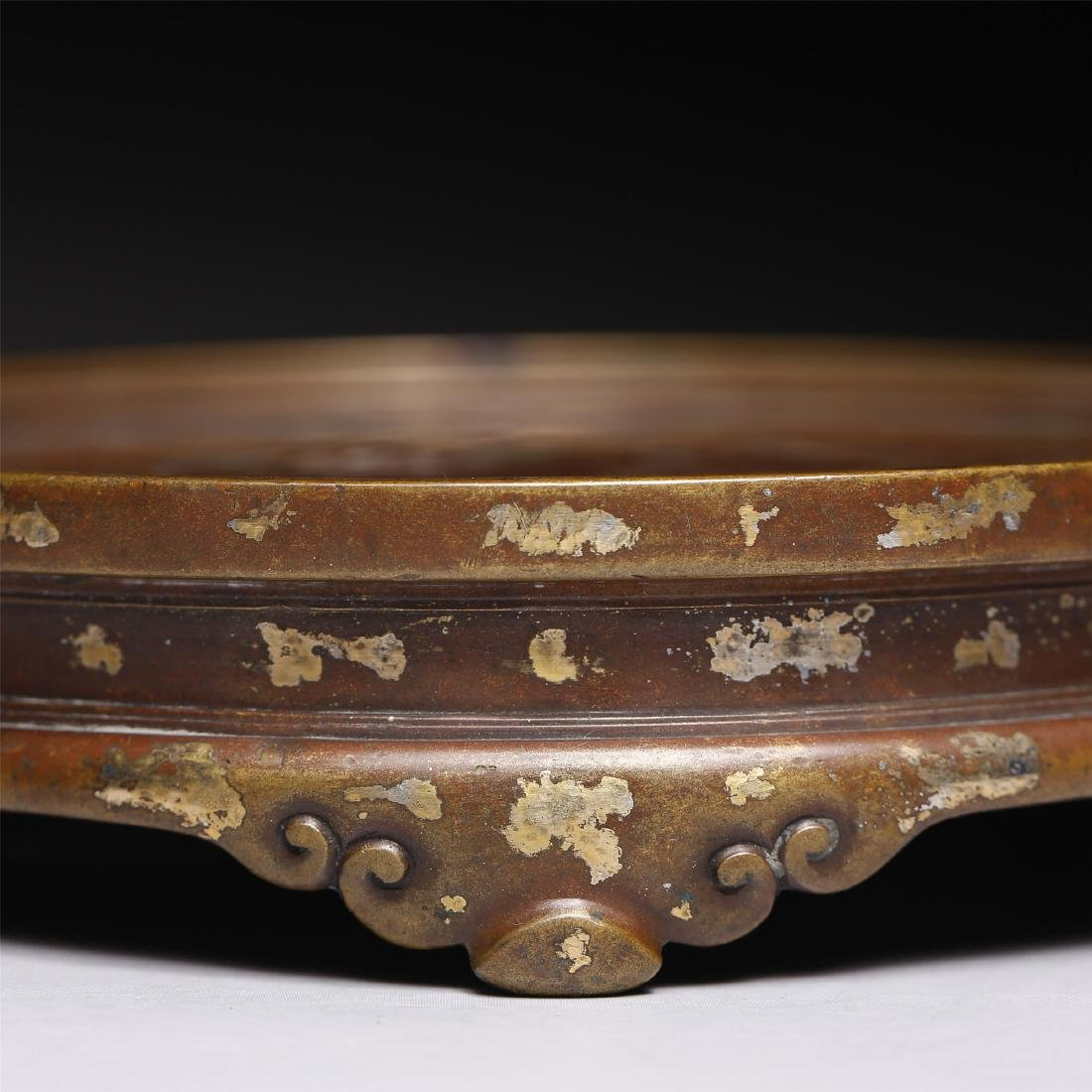 A CHINESE GOLD SPLASH BRONZE STAND - 4