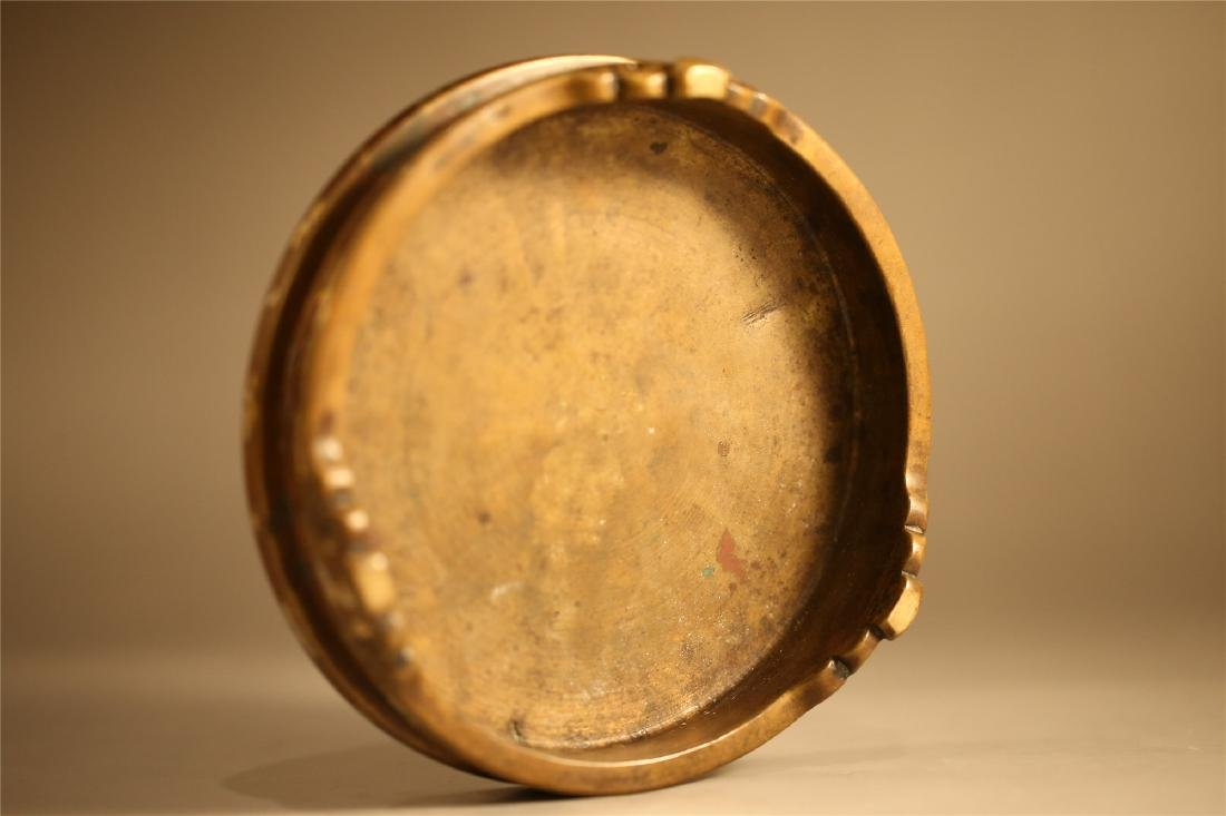 A CHINESE GOLD SPLASH BRONZE STAND - 6