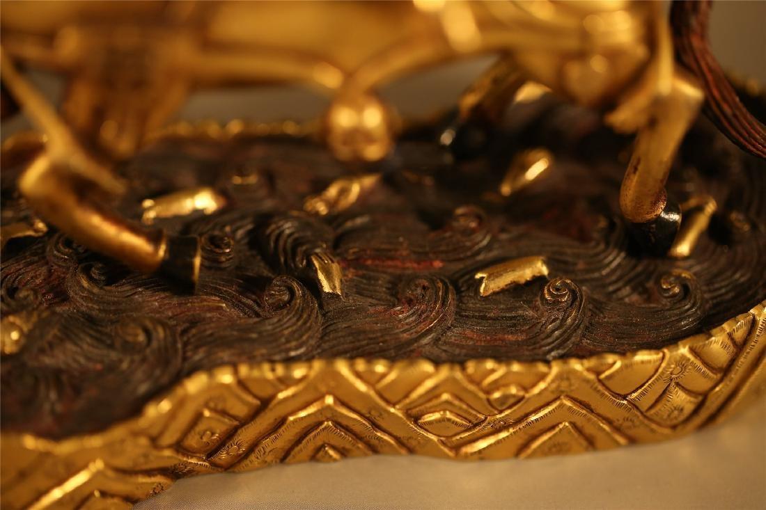 A SINO TIBETAN GILT BRONZE FIGURE OF PALDEN LHAMO - 3