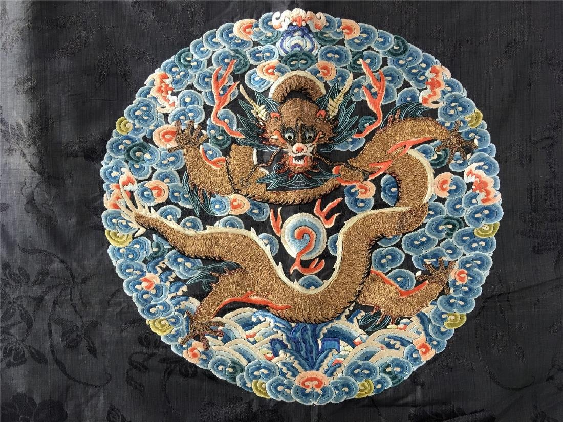A CHINESE SILK EMBROIDERED FUR-LINED WINTER COAT - 9