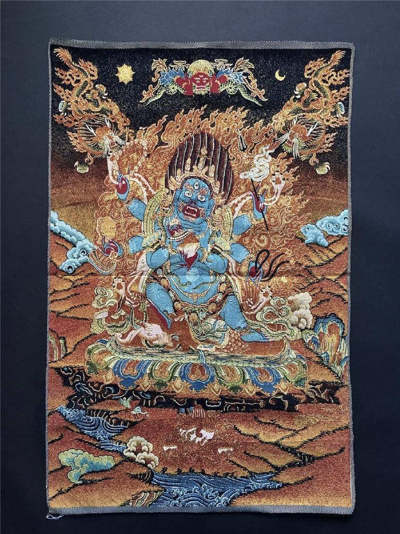 A SINO-TIBETAN WOVEN THANKA OF PALDON LHAMO