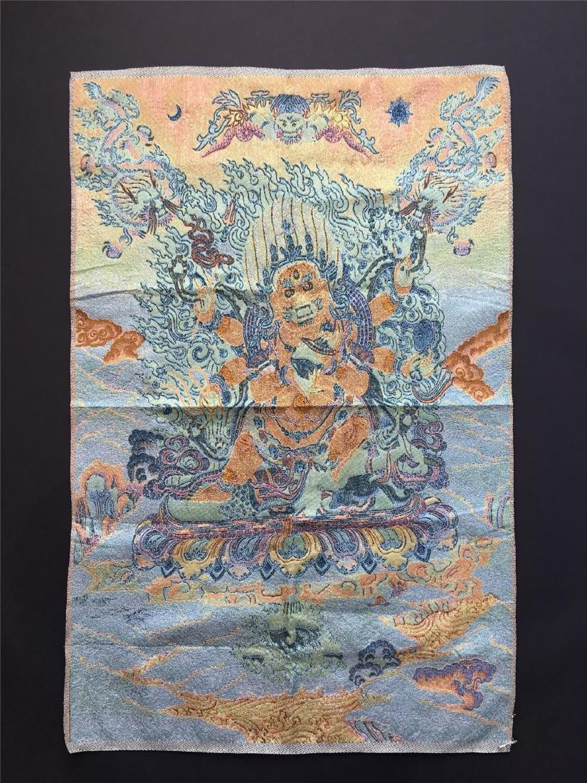 A SINO-TIBETAN WOVEN THANKA OF PALDON LHAMO - 2