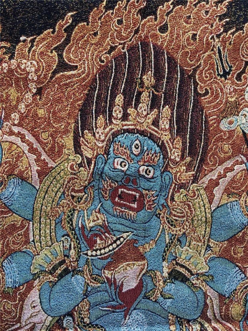 A SINO-TIBETAN WOVEN THANKA OF PALDON LHAMO - 5