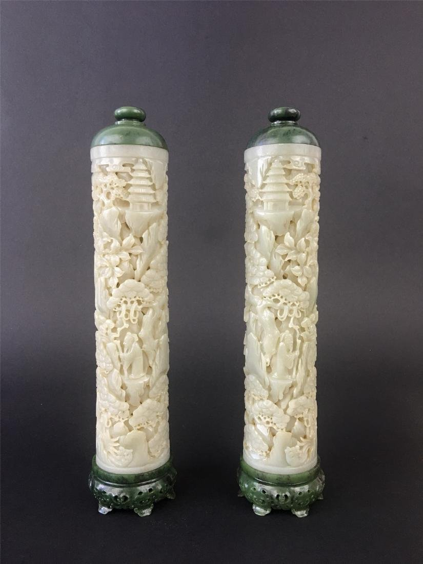 A PAIR OF CHINESE JADE INCENSE HOLDERS