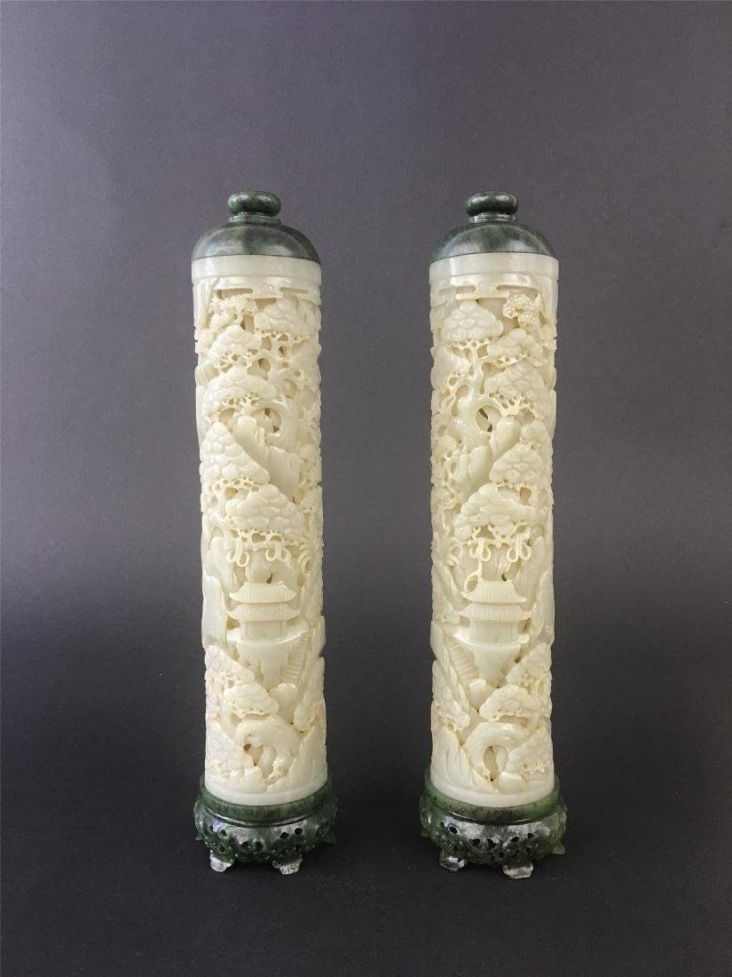 A PAIR OF CHINESE JADE INCENSE HOLDERS - 2