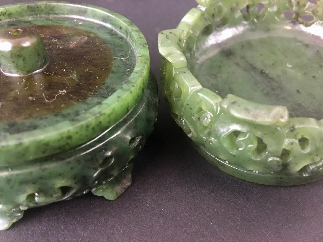 A PAIR OF CHINESE JADE INCENSE HOLDERS - 8