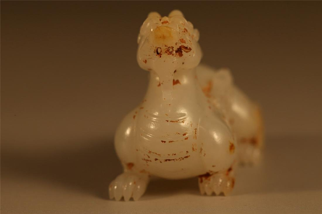 A CELADON JADE CARVING OF A MYTHICAL BEAST, HAN DYNASTY - 4