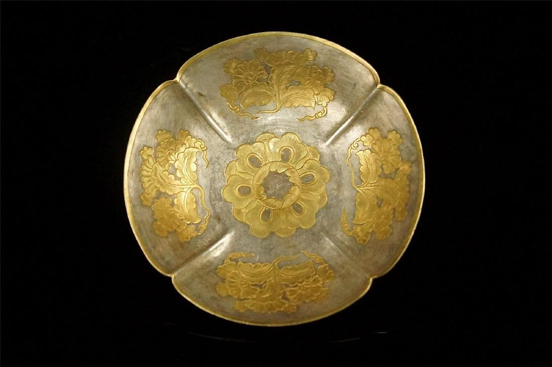 A PARCEL GILT SILVER FLOWER SHAPED STAND, TANG DYNASTY - 2