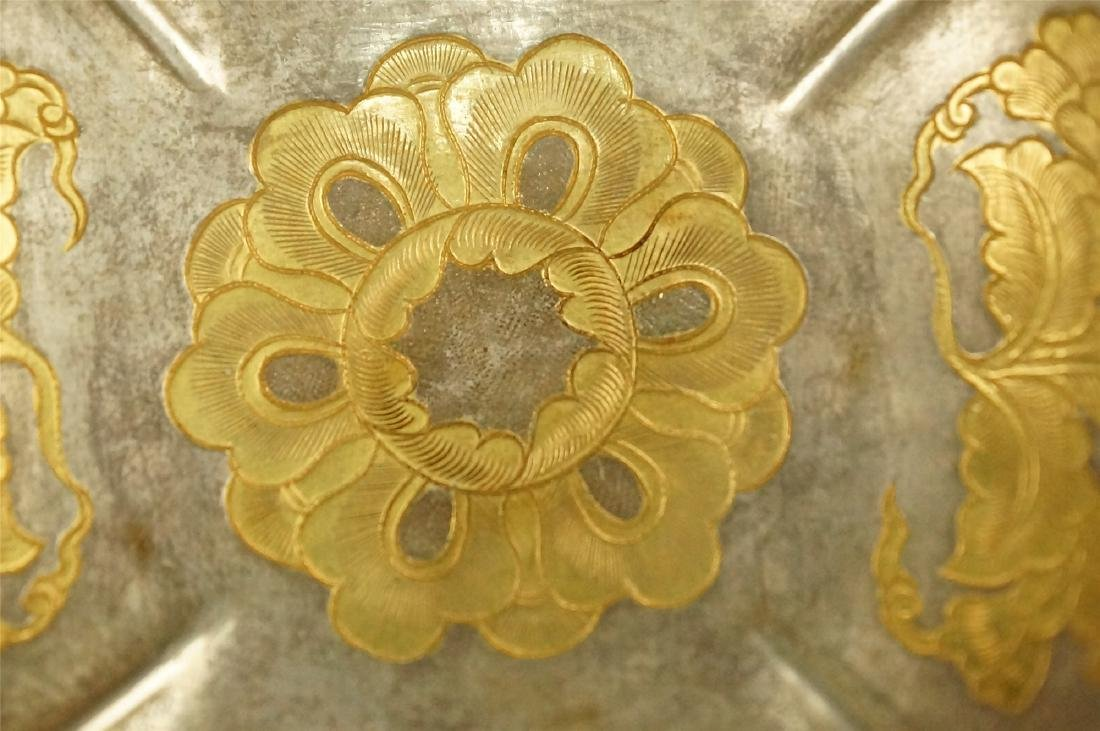 A PARCEL GILT SILVER FLOWER SHAPED STAND, TANG DYNASTY - 3