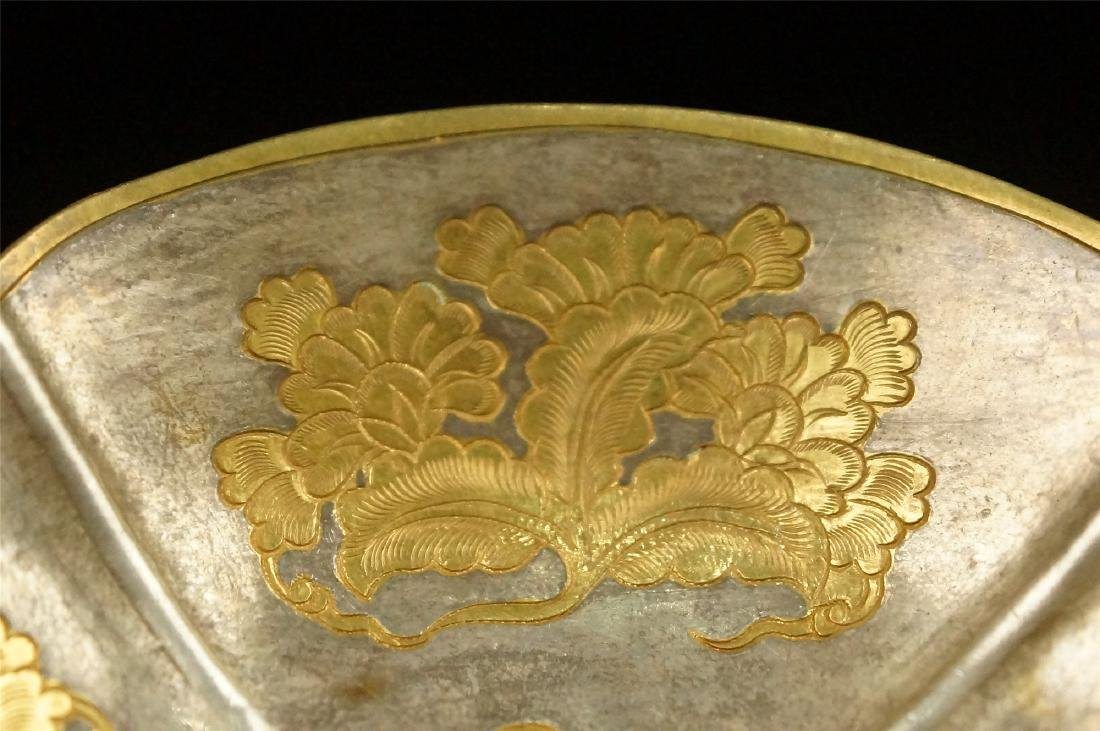 A PARCEL GILT SILVER FLOWER SHAPED STAND, TANG DYNASTY - 4