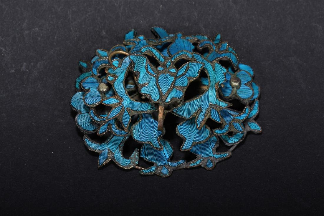 A CHINESE KINGFISHER FEATHER EMBELLISHED HAIR ORNAMENT