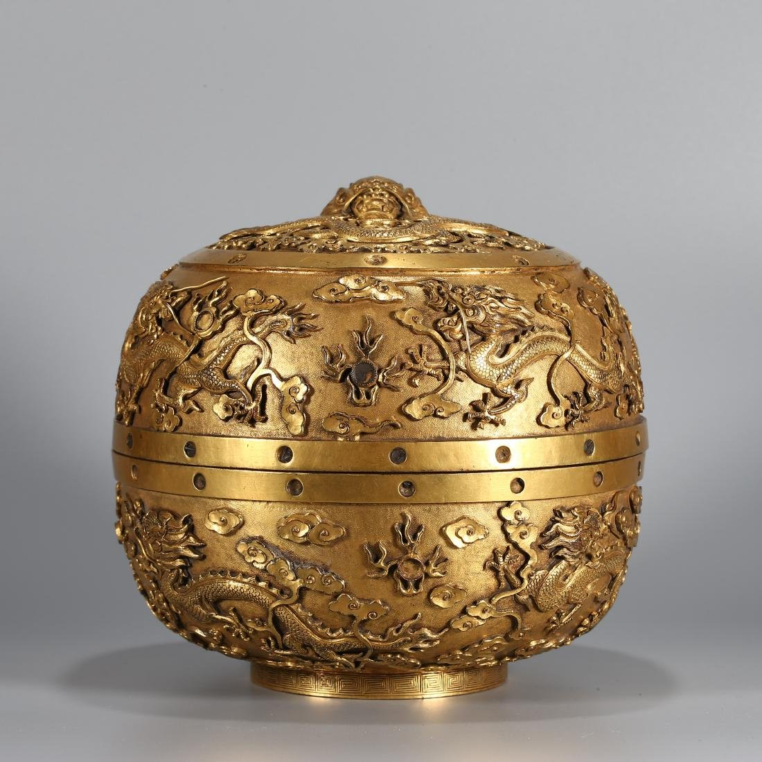 """A CHINESE GILT SILVER """"DRAGON"""" BOX WITH COVER"""