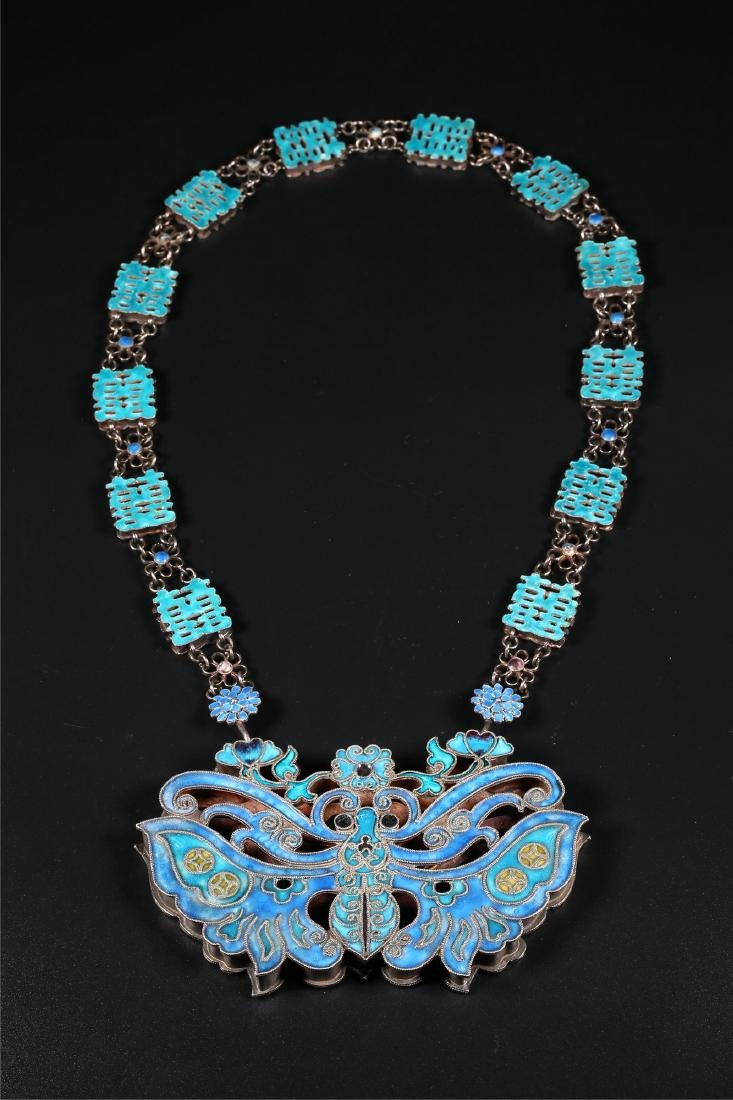 A CHINESE SILVER AND ENAMEL AMULET AND NECKLACE