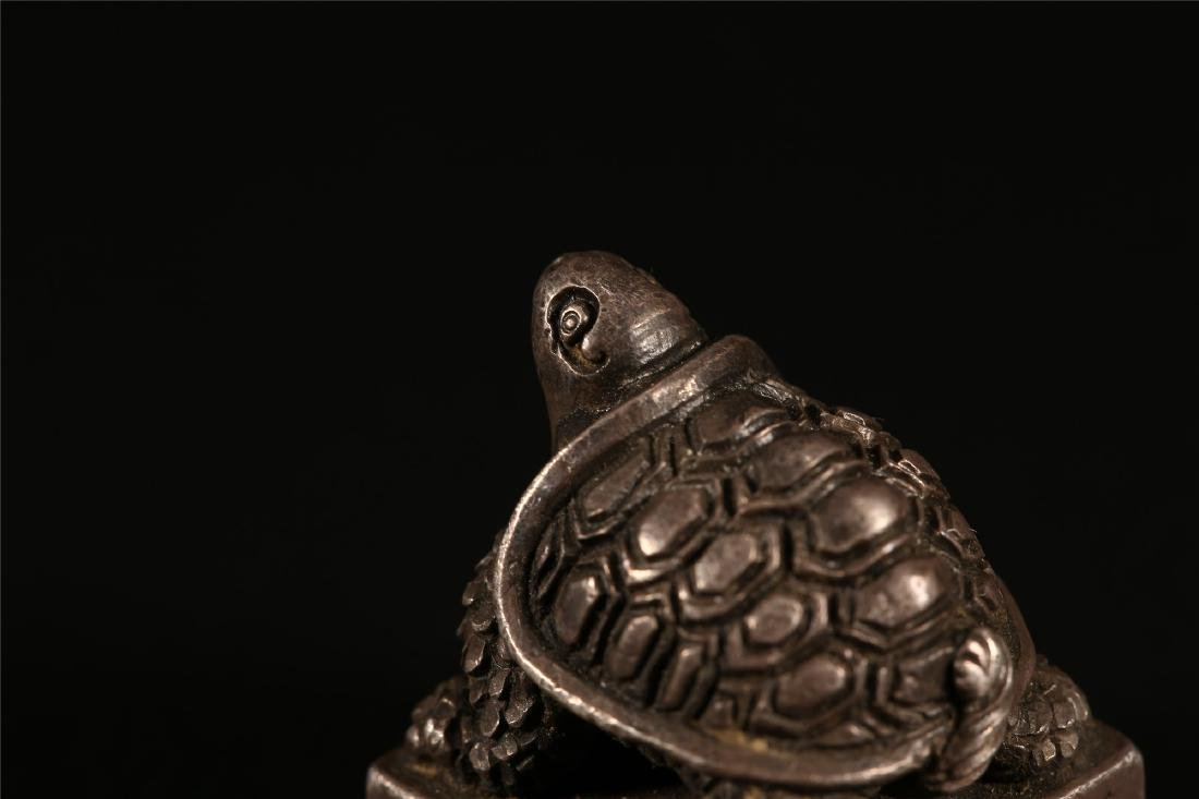 """A CHINESE SILVER """"TURTLE"""" SEAL - 5"""