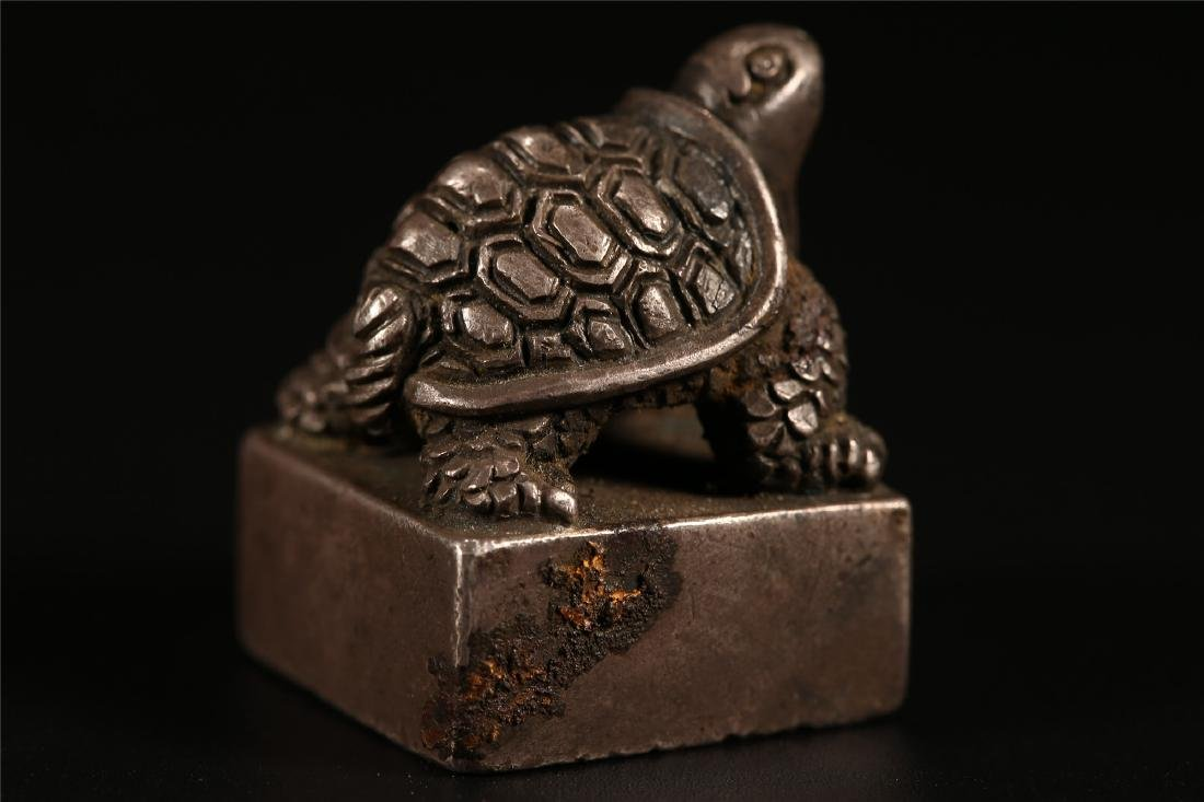 """A CHINESE SILVER """"TURTLE"""" SEAL - 7"""