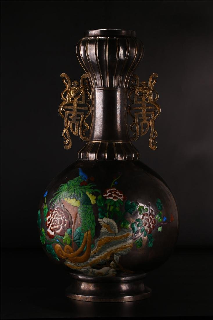 A CHINESE SILVER ENAMEL DOUBLE HANDLED BOTTLE VASE