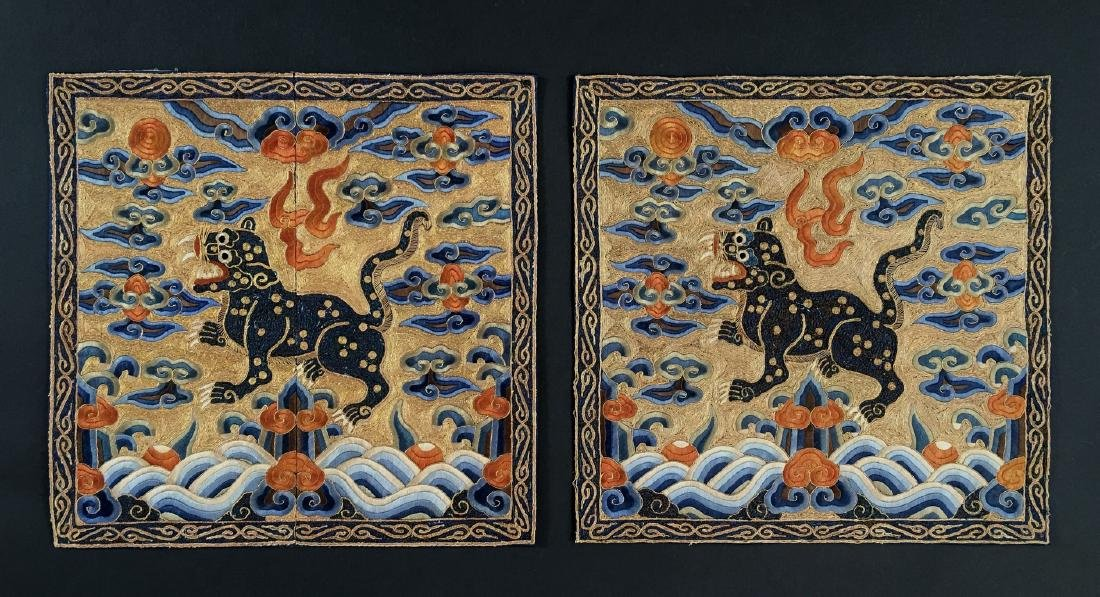 A PAIR OF CHINESE SILK EMBROIDERED RANK BADGES