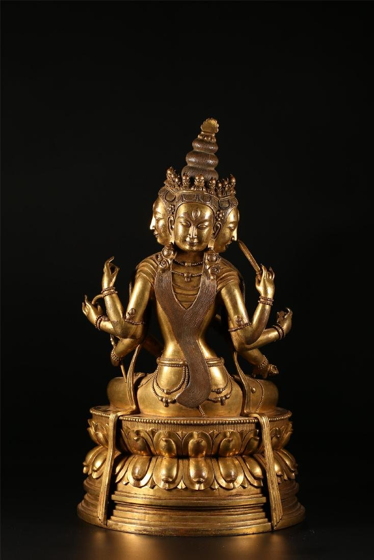A CHINESE GILT BRONZE FIGURE OF EIGHT ARMED GUANYIN - 7