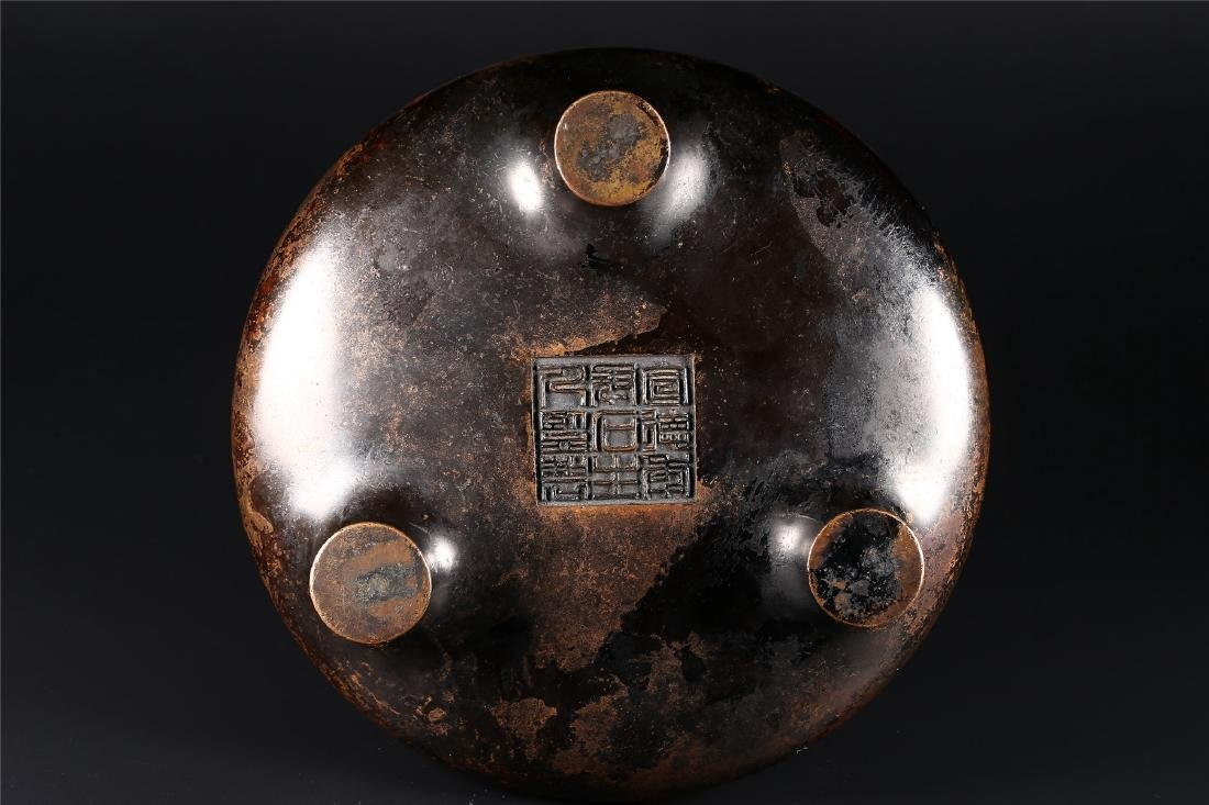 A CHINESE BRONZE TRIPOD CENSER - 5