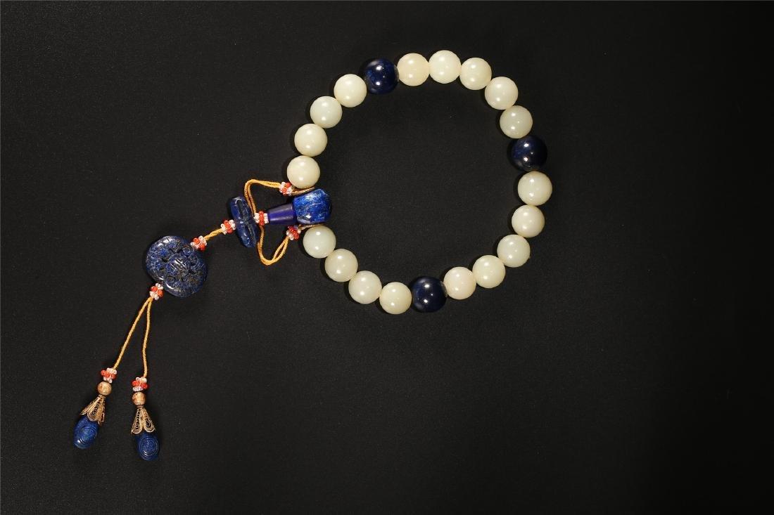 A SET OF CHINESE WHITE JADE PRAYER BEADS - 2