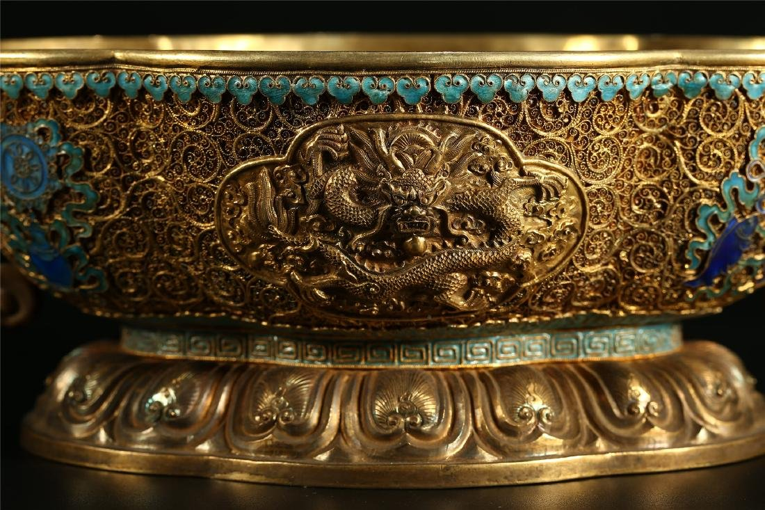 """A CHINESE GILT SILVER DOUBLE """"DRAGON"""" HANDLED BOWL - 2"""