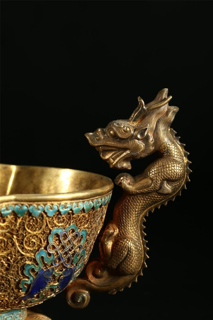 """A CHINESE GILT SILVER DOUBLE """"DRAGON"""" HANDLED BOWL - 3"""